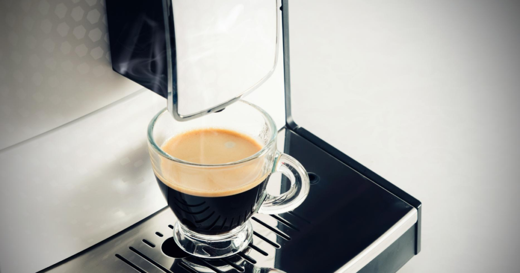 Close up image of espresso on one of the best coffee pod machines Australia