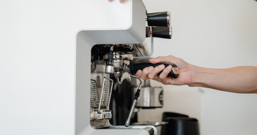 an image of the best home espresso machine being used